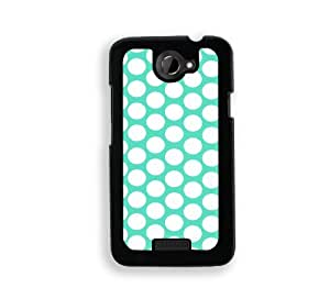 Polka Dots Pattern - Mint - Protective Designer BLACK Case - Fits HTC One X / One X+