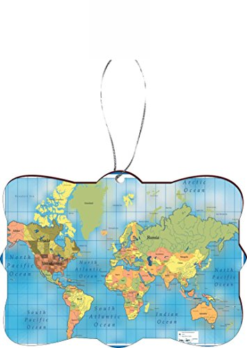 Rikki Knight Christmas Tree Ornament/Car Rear View Mirror Hanger World map on Blue Design ()