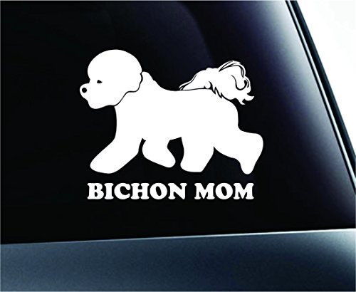 - Dog Bichon Frise Mom Symbol Decal Car Truck Sticker Window Dog Breed Pet Family Paw Print Love (White), Decal Sticker Vinyl Car Home Truck Window Laptop