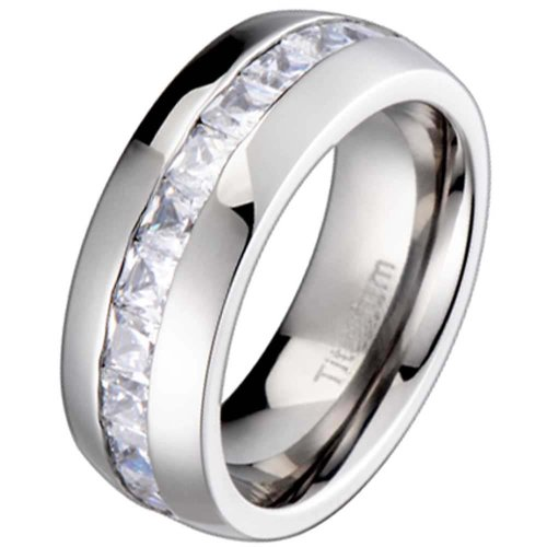 FlameReflection Titanium Men's Wedding Band Engagement Ring with 11 large Princess Cut Cubic Zirconia size 11.5 - Men For Ring Princess Cut