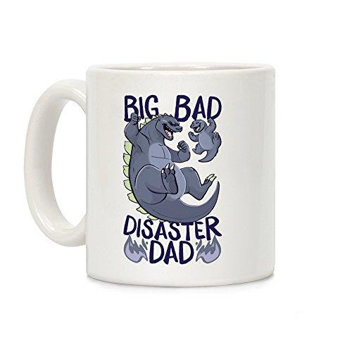 LookHUMAN Big Bad Disaster Dad Godzilla White 11 Ounce Ceramic Coffee Mug