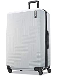 Stratum XLT Expandable Hardside Luggage with Spinner Wheels, Bright Silver, Checked-Large 28-Inch