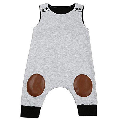 HappyMA Infant Toddler Baby Boy Romper Summer Jumpsuit Sleeveless Clothing Set (Grey ## 1, 6-12 Months)