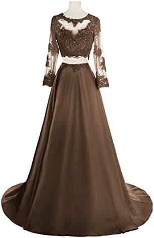 9c1af916a Momoai Women's Beaded Long Sleeve Lace Evening Party Dress Formal Gown Two  Pieces Prom Dresses Long