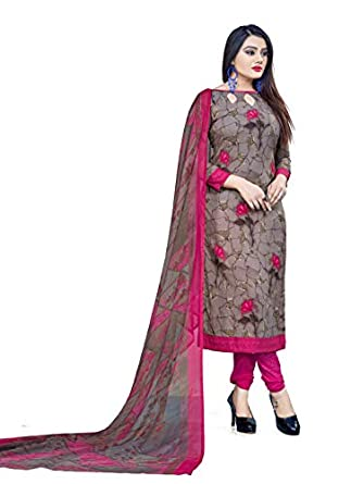 Hanoba Women's Printed Leon Synthetic Dress Material with Dupatta