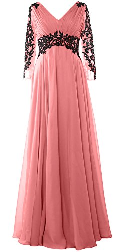 MACloth Women V Neck Mother of the Bride Dress Long Sleeve Formal Evening Gown Blush Pink