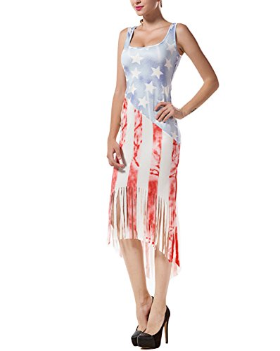 Lkous Women's USA Flag Print Irregular Tassel Hem Sleeveless Bodycon Tank Dress