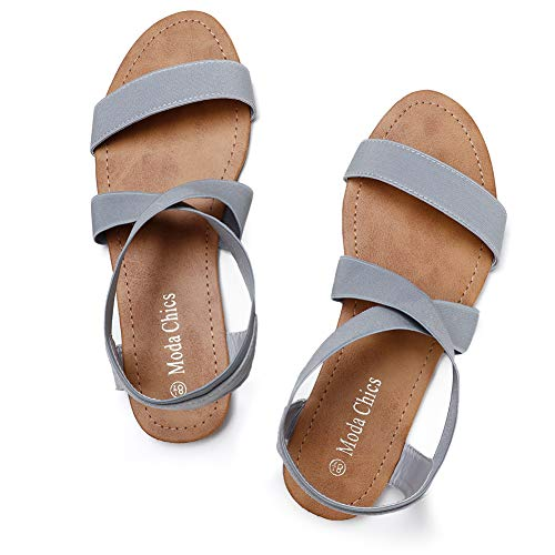 Moda Chics Women's Elastic Ankle Strap Flat Summer Sandals Grey 7 D(M) ()