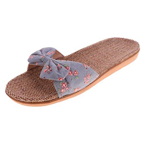con IPOTCH Playa de Planas Viaje Chanclas Floral Bowknot Zapatillas de para Casa Mujer Gris Baño Claro Sandalias Srwrq