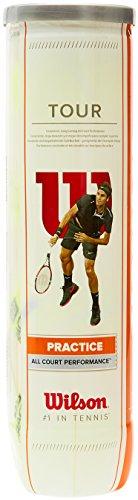 Wilson Tennisbälle Tour Practice 4er, Gelb, 6, WRT114500
