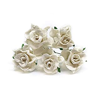 3.5cm White Mulberry Paper Rose Flowers with Wire Stems DIY Wedding Favor Decor Paper Bouquet Artificial Flowers Crafts Home Decorations, 25 Pieces 49