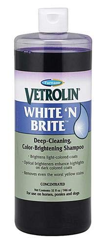 Farnam Vetrolin White n' Brite Deep-Cleaning Shampoo | For Horses, Ponies and Dogs | Color Brightening | 32 oz