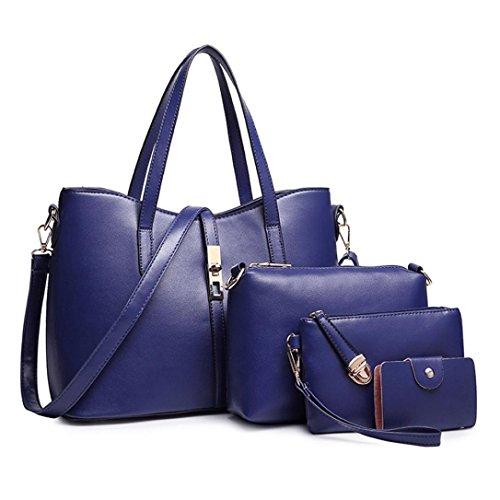Mujer Tarjeta Hombro de Bolsa Mano de Cartera Monedero de Logobeing Cuero Azul de PU Tarjeta 4Pcs Bolsos Moda Bolsa Mensajero de Bolso Paquete Mujeres Titular x8AqCwv