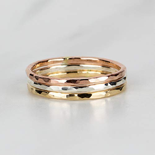 1675c06abe25b Mixed Metal Stacking Rings, Set of 3, 14K Rose Gold Fill, 14K Yellow Gold  Fill, and Sterling Silver, Custom Made