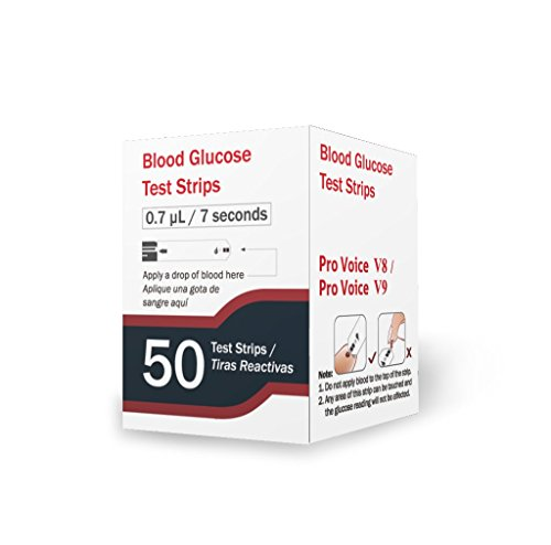 FORA Pro Voice V8 V9 Blood Glucose Test Strips for Precise Blood Sugar Measurement for Diabetes and Your Diabetic Diet - 50 Count