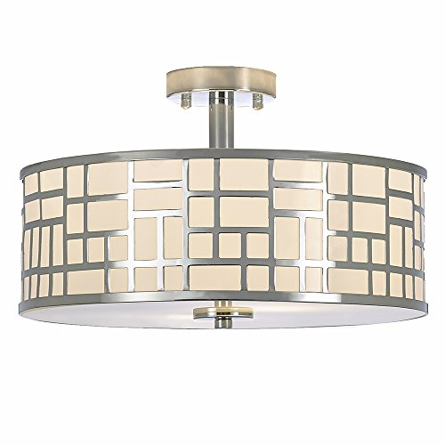 - POPILION 16 Inch Modern Design Metal Chrome Finish Flush Mount Ceiling Light, Ceiling Lighting for Kitchen Dining Room Bedroom