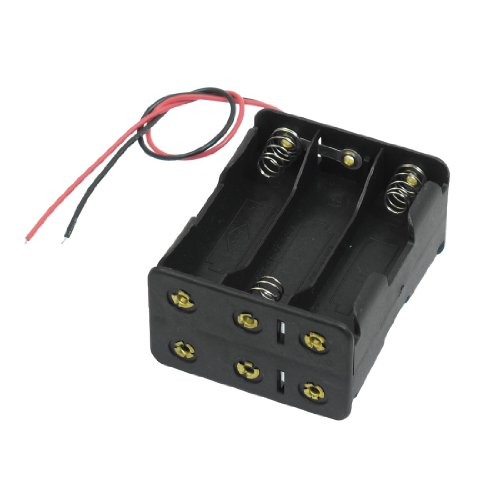 uxcell Black Tow Layers 6 x 1.5V AA Batteries Battery Holder Case Box w Wire Leads primary