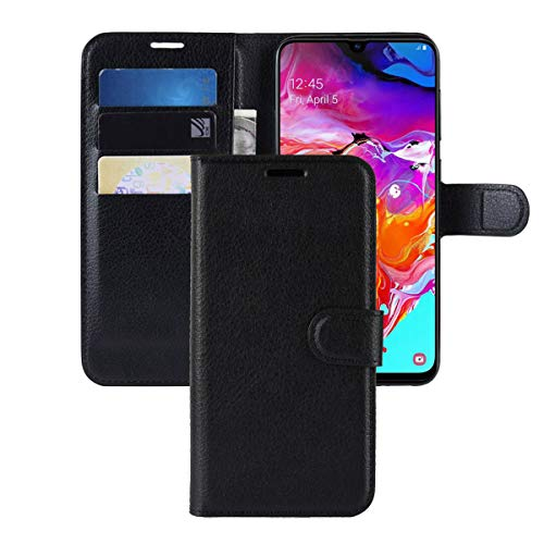 Galaxy A70 Case,CH-IC Protective Shockproof PU Leather Wallet Flip Folio Cover with Kickstand Card Holders Magnetic Closure for Samsung Galaxy A70 (Black)