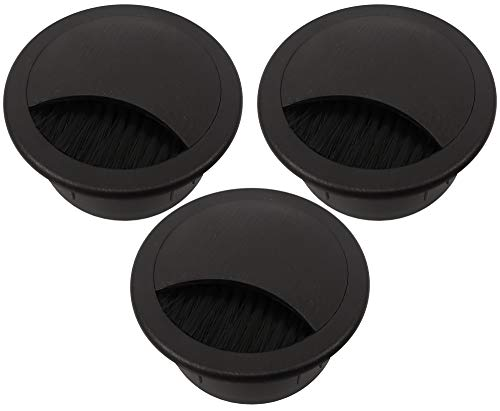 "2.375"" Plastic Brush Desk Grommet - Black"