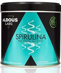 Espirulina Ecológica Premium para 165 días | 500 comprimidos de 500mg con 99% BIO Spirulina | Vegano + Saciante + Proteína + DETOX | Libre de Plástico | Certificación Ecológica Oficial CAAE