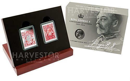 Dollar Australian 2 Coin - 2014 Silver King George V - Centenary Coin & Stamp Set with all OGP