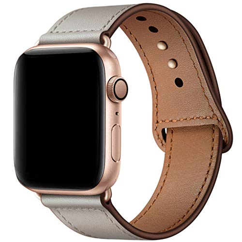 YALOCEA Compatible with iWatch Band 44mm 42mm 40mm 38mm, Genuine Leather Band Replacement Strap Compatible with Apple Watch Series 4 Series 3 Series 2 Series 1, Ivory White 42mm 44mm