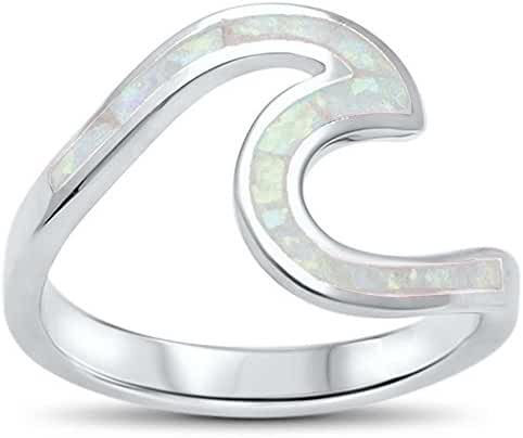 Wave Ocean Beach Lab Created White Opal .925 Sterling Silver Ring sizes 4-12