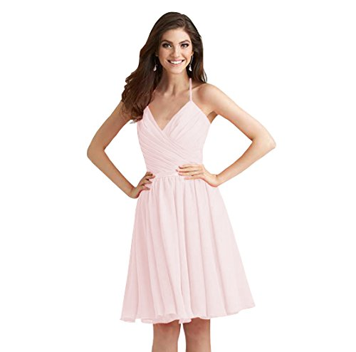 After Six Bodice Bridesmaid Dress - SHYijia Women's A Line Pleated Halter V Neck Bridesmaid Dress Short Sleeveless Chiffon Open Back Cocktail Party Gown Size 6 Blush Pink