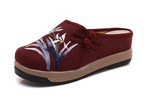 D'art Décontracté Classique Tissu Style Pantoufles Chaussures Claret Chinois Brodé Dames En Lin D'été YFq6wp
