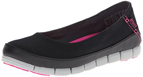crocs Women's Stretch Sole Flat 15317 Slip-On Loafer, Black/Light Grey, 6 M US