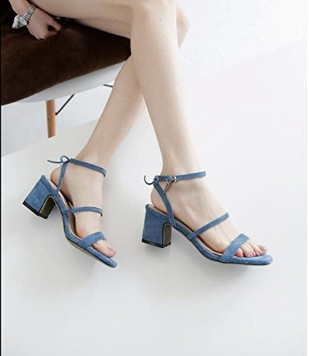 blue 34 Sandalias 5cm 34 AJUNR high Sandals hebilla heels Transpirable elegante correa Moda q0W0w6C7