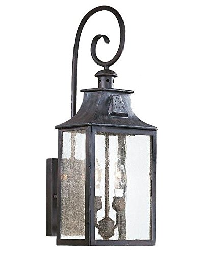 Troy Lighting Newton 23″H 2-Light Outdoor Wall Lantern – Old Bronze Finish with Clear Seeded Glass Review
