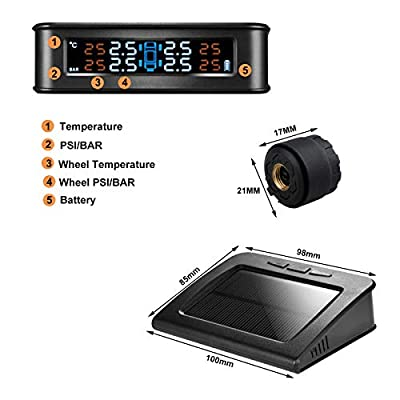 Spurtar Tire Pressure Monitoring System Solar Power TPMS System Universal Wireless Real-time Displays with 4 External DIY Sensors, 6 Smart Alarm Modes(0-120PSI): Automotive