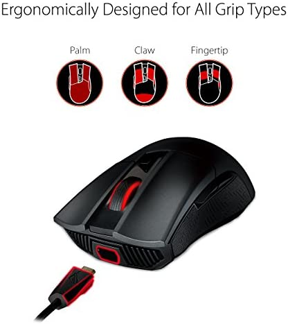ASUS ROG Gladius II Origin Wired USB Optical Ergonomic FPS Gaming Mouse featuring Aura Sync RGB, 12000 DPI Optical, 50G Acceleration, 250 IPS sensors and swappable Omron switches,Black 41YLEmBU6lL
