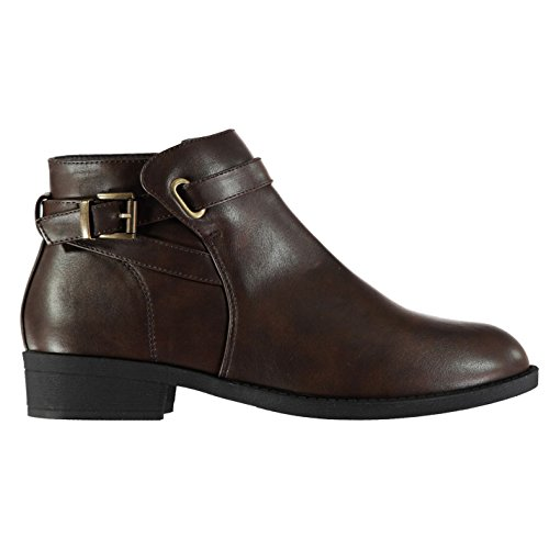Miso Womens Buckle Boots Flat Ankle Zip Slight Heel Strap Casual Comfortable Fit Brown