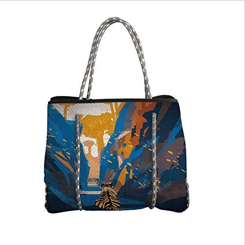 (Neoprene Multipurpose Beach Bag Tote Bags,Fantasy Art House Decor,African Tiger in City Streets Narrow Walls Digital Jungle Savannah,Orange Blue,Women Casual Handbag Tote Bags)