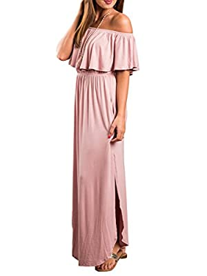 Choies Women's Off Shoulder Ruffle Maxi Dress Side Split Pockets Long Dress