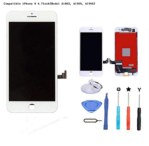 Premium Screen Replacement Compatible iPhone 8 4.7inch(Model A1863, A1905, A1906), 3D LCD Complete Repair Kits, LCD Touch Digitizer Display Glass Assembly with Tools (White)