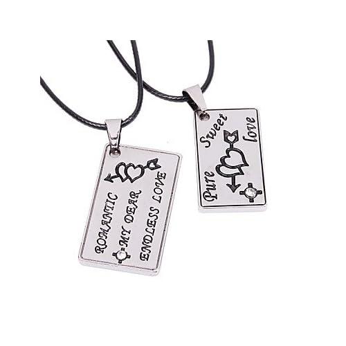 MJW&XL Couple Crâne Forme simple Décontracté Pendentif de collier , Acier inoxydable Cuir Pendentif de collier Bar Plein Air Bijoux de fantaisie , silver