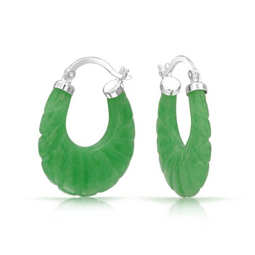Craved Dyed Green Jade Round Oval Hoop Earrings For Women 925 Sterling Silver .75 Inch Dia