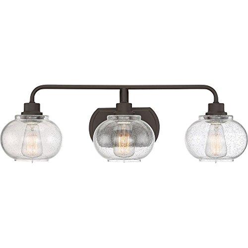 Quoizel TRG8603OZ Trilogy Glass Lantern Vanity Wall Lighting, 3-Light, 300 Watts, Old Bronze (8