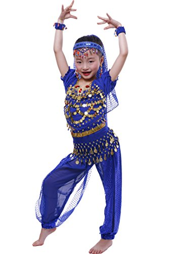 Astage Girls Short Sleeve Belly Dancing Carnival Performance Costume All Sets RoyalBlue S ()