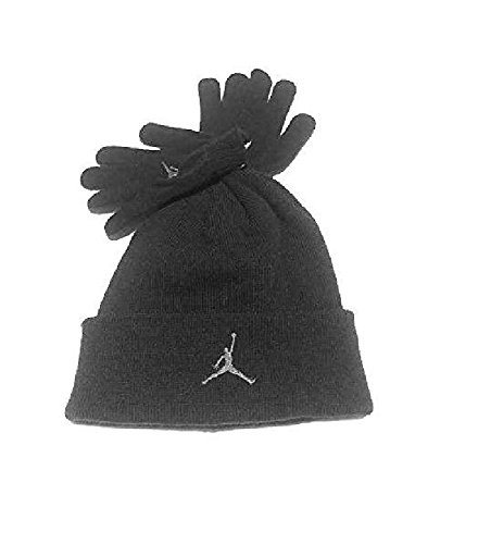 e9fae7bbfe2 cheap price f7b1c a47c7 Nike Air Jordan Boys Winter Hat Beanie Cap Gloves  Set BlackGrey 820 ...