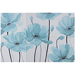 "Décor 5 - Printed Triptych Canvas Set - 3 Pieces, 14'' x 28"" - Flora - Blue, Aqua, Floral"