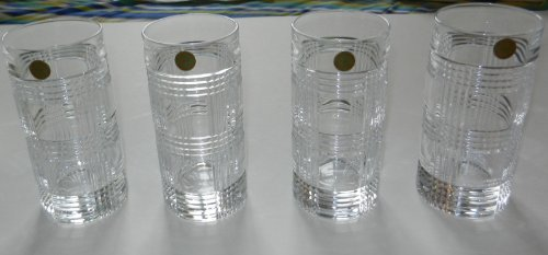 4 Ralph Lauren Glen Plaid Crystal Highball Tumblers Glasses -