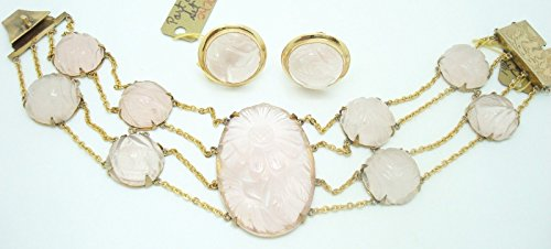 14k Gold Genuine Natural Rose Quartz Bracelet and Earring Set (#J2470)