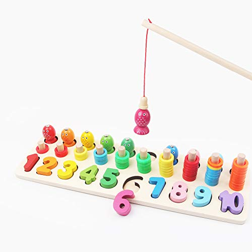 (Fishing Toy & Number Puzzle Board Set, 1-10 Wood Blocks Counting Interactive Math Chart Games, Waldorf Montessori School Learning & Educational Toys for Kids Toddler Baby Boys Girls, Chunky Puzzle)