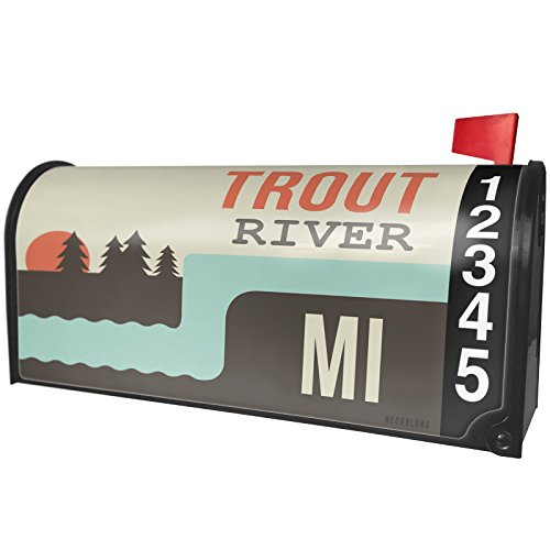 NEONBLOND USA Rivers Trout River - Michigan Magnetic Mailbox Cover Custom Numbers Hardware Trout
