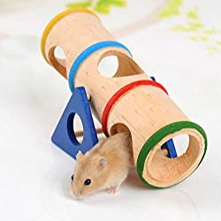 Gotian Hamster Rainbow Wooden Colorful Seesaw Cage House Hide Play Pet Toys for Hamster Rat Mouse Mice