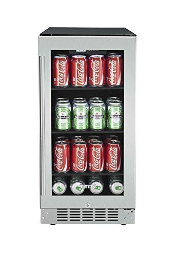 Titan 15 inch 80 Can Built in Beverage Cooler, Adjustable Glass Shelves, Seamless Stainless Steel Door, Memory Temp Function, Open Door & High Temp Alarms, Security Lock and Key